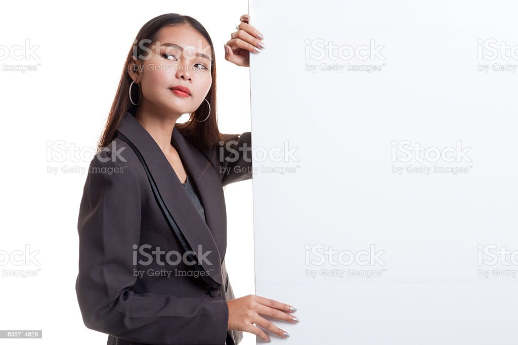 Young Asian woman with blank sign. royalty-free stock photo