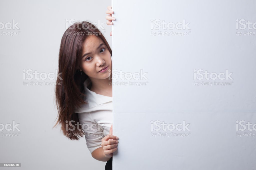 Young Asian woman with blank sign. foto stock royalty-free