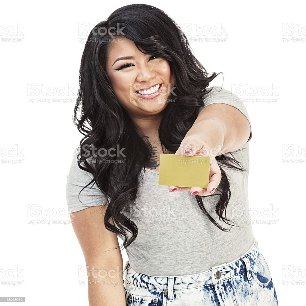 Young Asian Woman with Gold Credit Card royalty-free stock photo