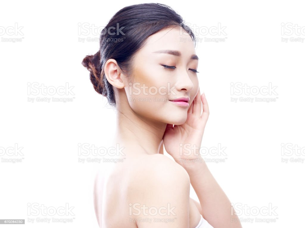 young asian woman with good skin stock photo