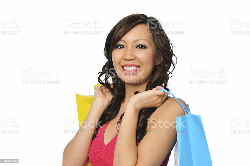 Young asian woman with shopping bags royalty-free stock photo