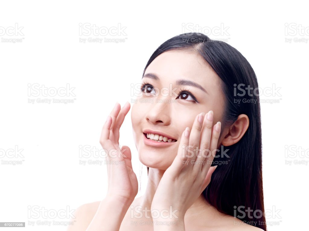Young asian woman with soft facial skin - Stock image .