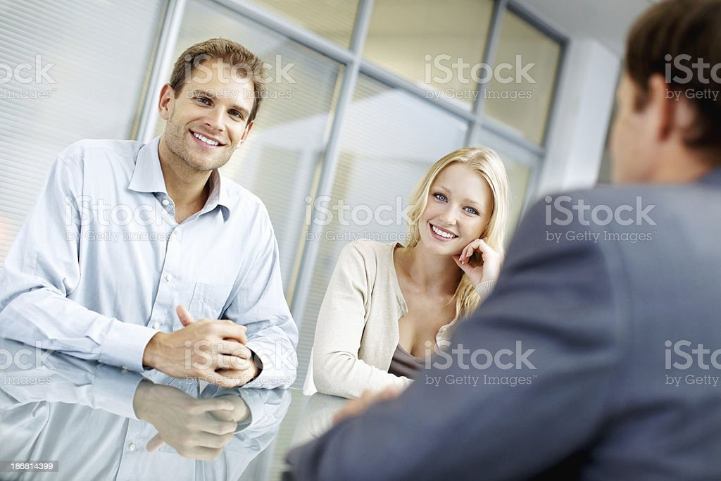 Young associates smiling royalty-free stock photo