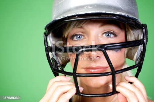 istock young atheletic woman basball helmet 157638069