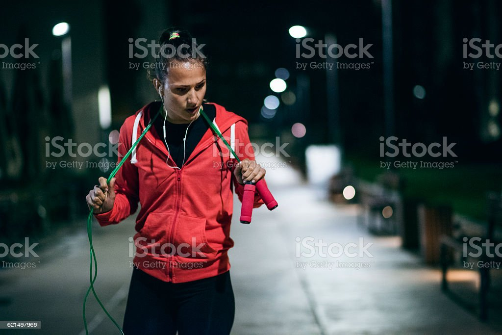Young athlete catching breath after training foto stock royalty-free