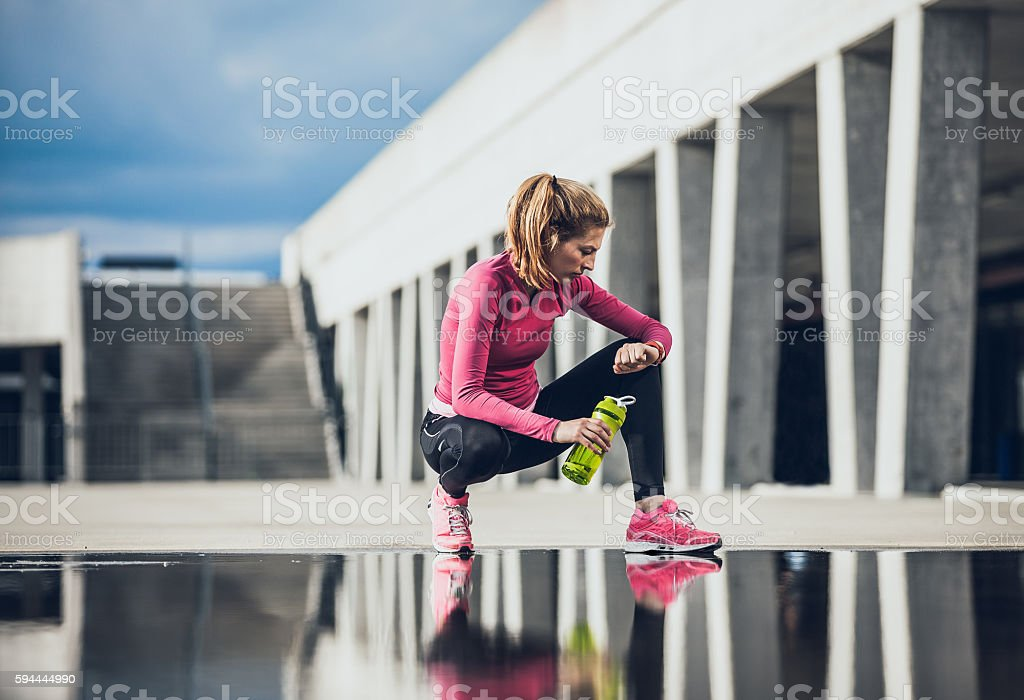 Young Athlete Exercising outdoors stock photo