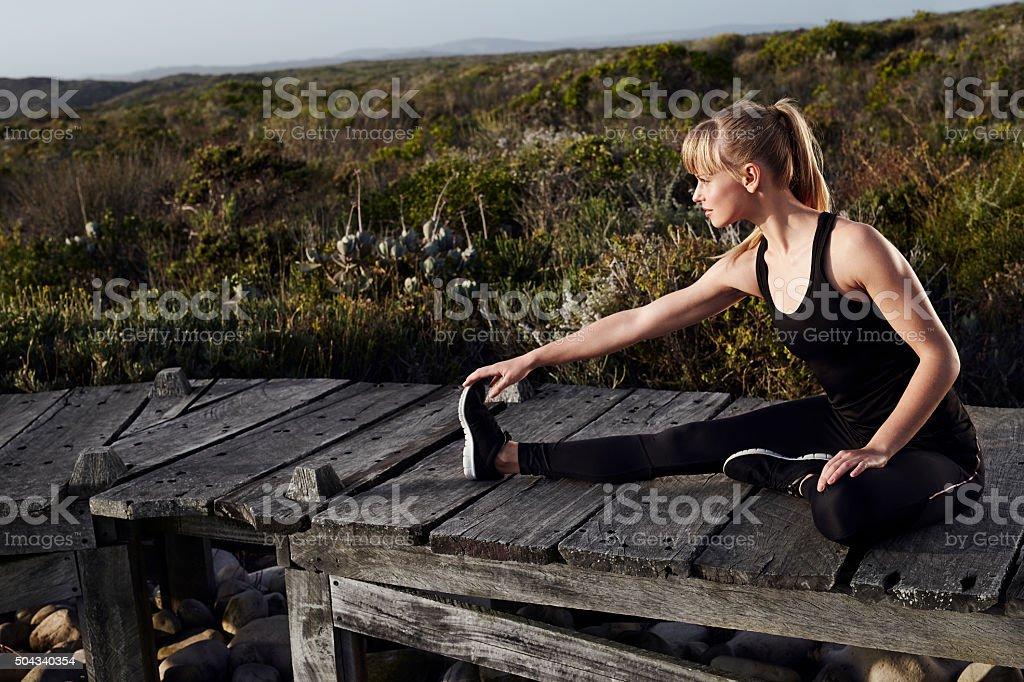 Young athlete preparing stock photo