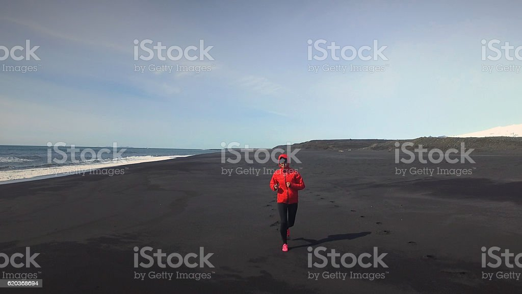 Young athlete woman the Iceland. foto de stock royalty-free