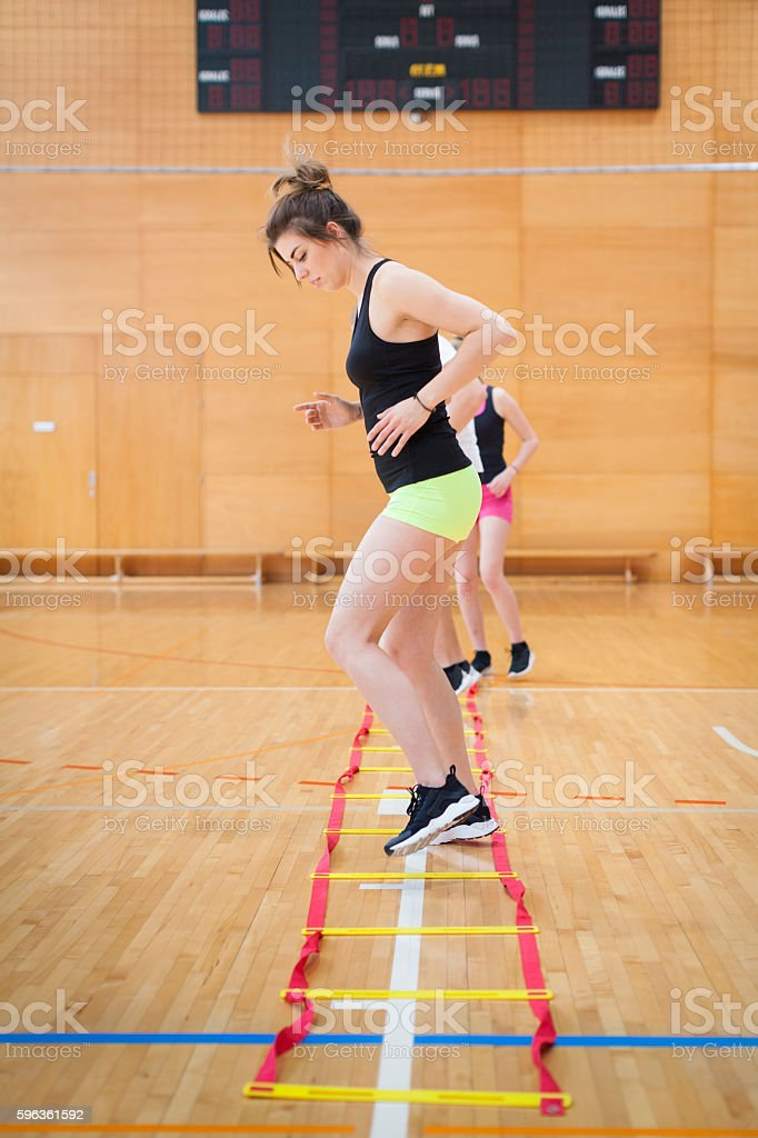 Young Athletes Warming Up in Gym royalty-free stock photo