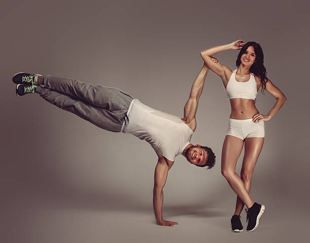Young athletic couple stock photo