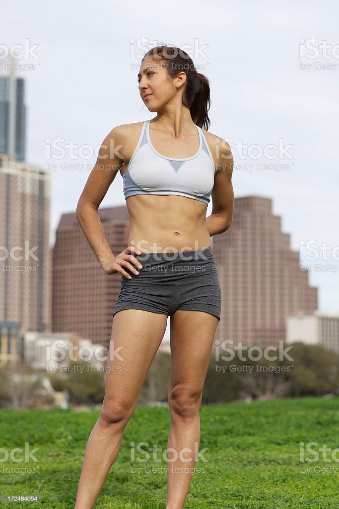 Young athletic Hispanic woman in Austin, Texas, USA royalty-free stock photo