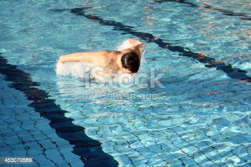 177281231 istock photo Young athletic man working out swimming in pool 453070589