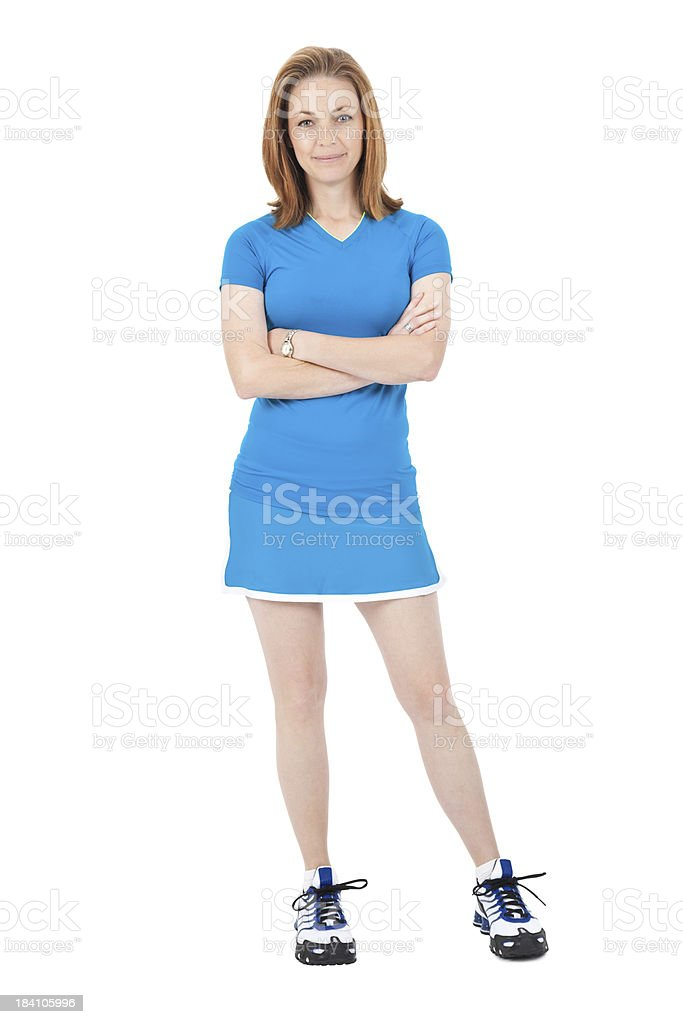 Young Athletic Woman Standing Wearing Blue Tennis Outfit Stock Photo Download Image Now Istock