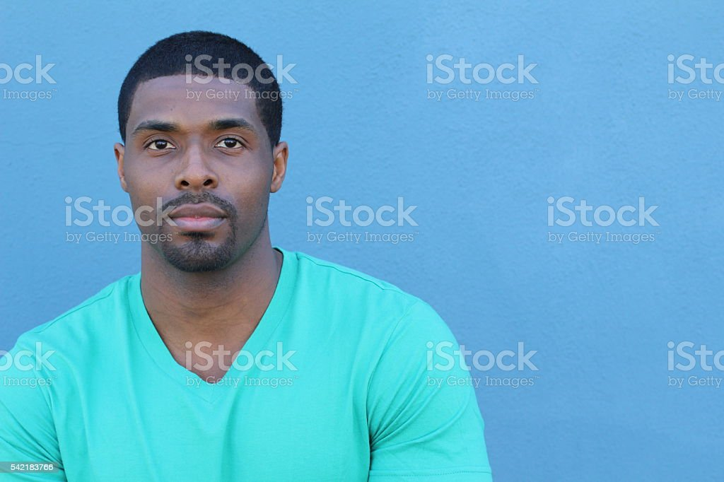 Young attractive African man with copy space stock photo