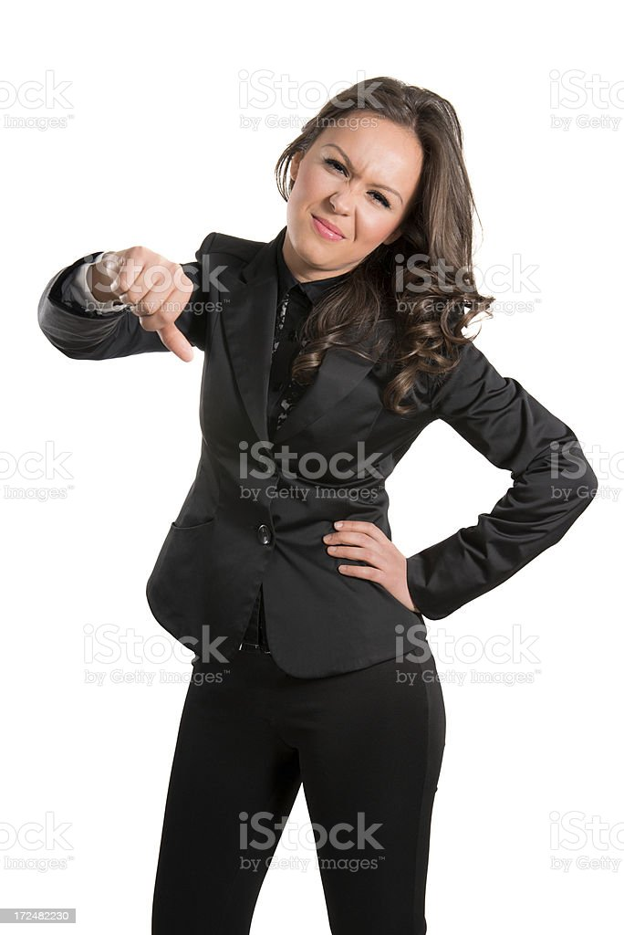 Young Attractive and Confident Businesswoman With Thumbs Down royalty-free stock photo