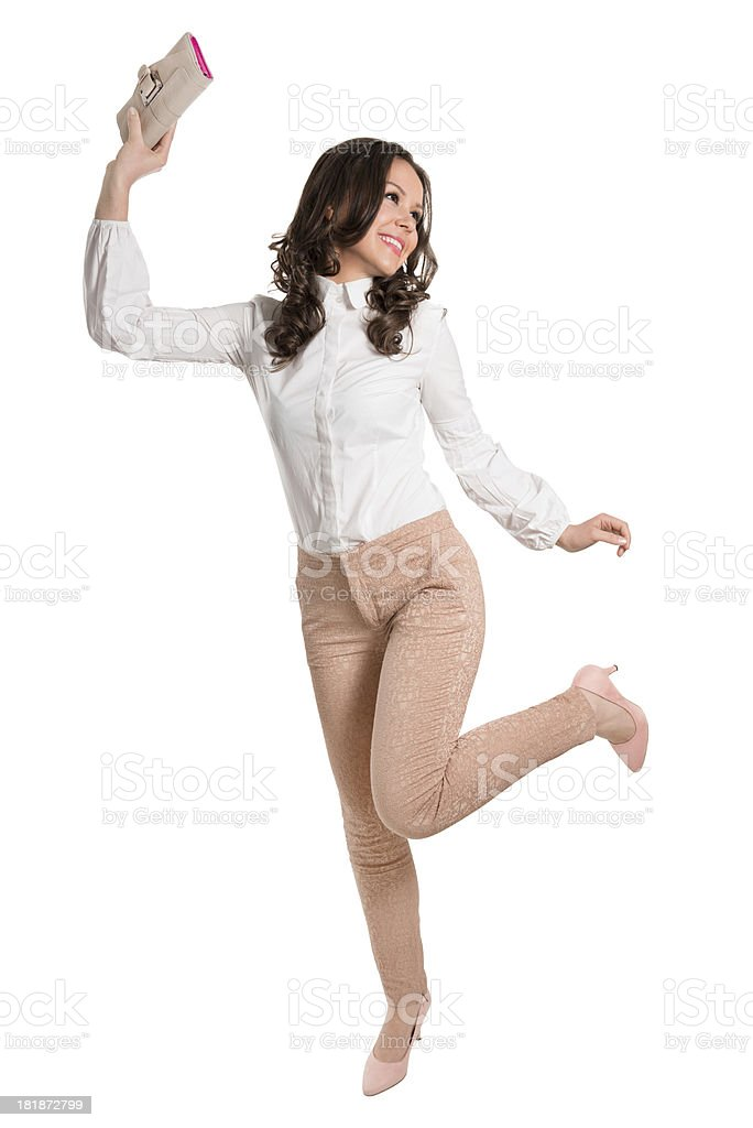 Young, Attractive and Stylish Female Dancing With Wallet royalty-free stock photo
