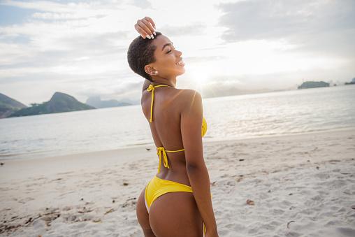 Young attractive brazilian woman in bikini