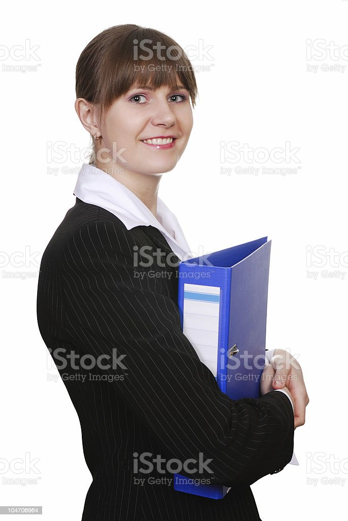 Young attractive business woman with folder royalty-free stock photo