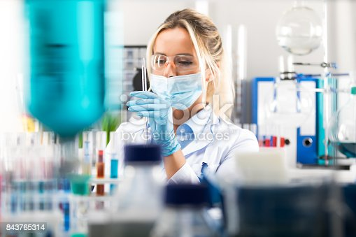 istock Young attractive female scientist preparing laboratory equipment for tests 843765314