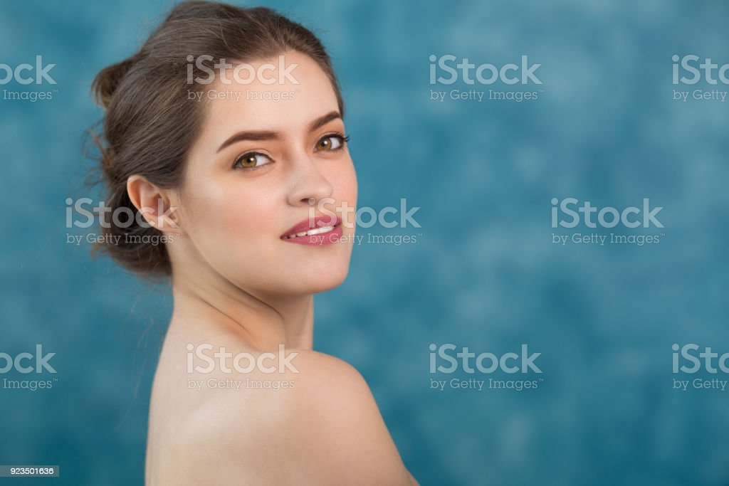 Young Attractive Girl With Black Hair Fixed Behind Big Eyes Thick