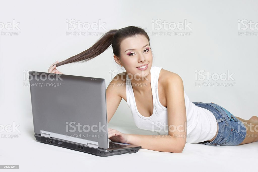 young attractive girl with laptop royalty-free stock photo