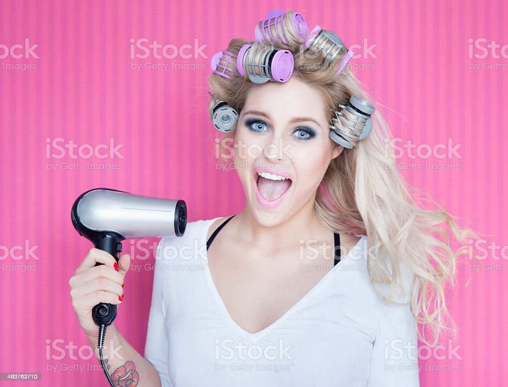 Young attractive happy laughing blonde woman stock photo