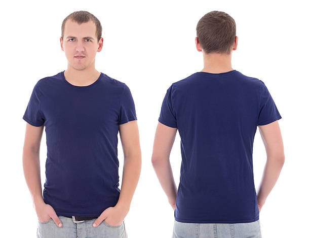 young attractive man in blue t-shirt isolated stock photo
