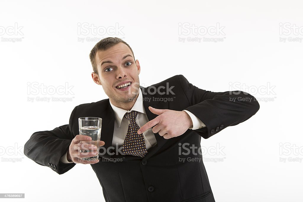 young attractive man with glass of water stock photo