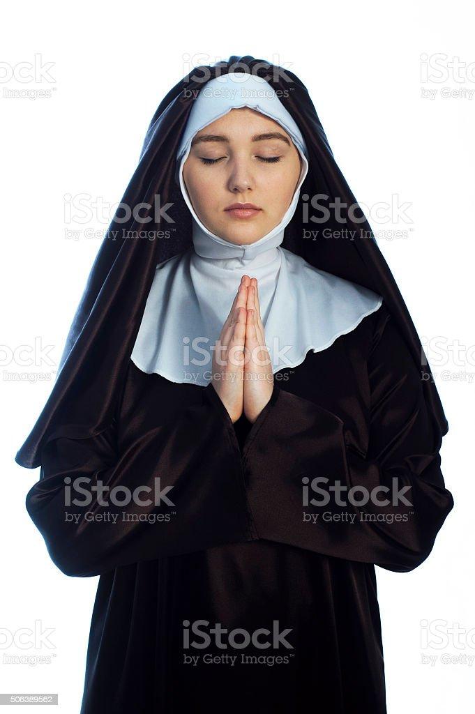 Young attractive nun. stock photo
