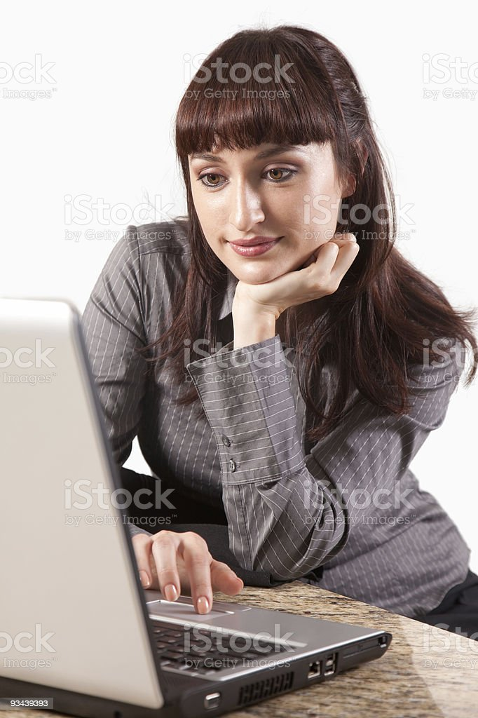 Junge attraktive Geschäftsfrau goldenen brunette koreanische Lizenzfreies stock-foto