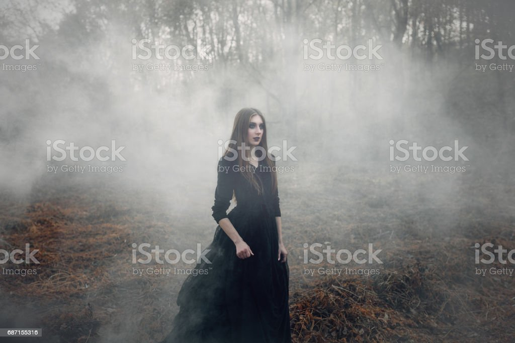 Young attractive Witch walking on the field in heavy black smoke. stock photo