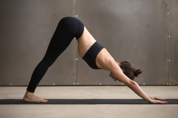 Young attractive woman in adho mukha svanasana pose, grey studio Young attractive yogi woman practicing yoga, standing in adho mukha svanasana exercise, Downward facing dog pose, working out, wearing black sportswear, cool urban style, full length, grey studio namaskard geothermal area stock pictures, royalty-free photos & images