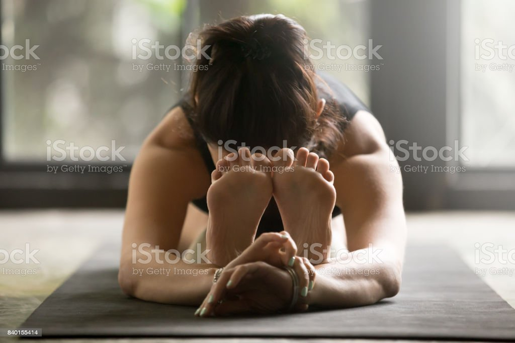 Young attractive woman in paschimottanasana pose, studio background stock photo