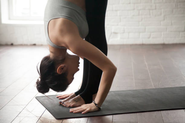 Young attractive woman in Uttanasana pose, white loft studio, cl Young attractive woman practicing yoga, standing forward bend exercise, head to knees, uttanasana pose, working out, wearing sportswear bra and pants, white loft studio background, closeup namaskard geothermal area stock pictures, royalty-free photos & images