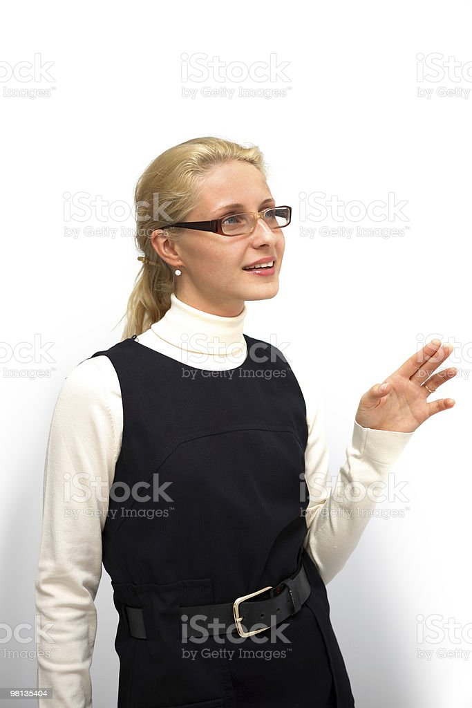 Young attractive woman looking at something with surprize royalty-free stock photo