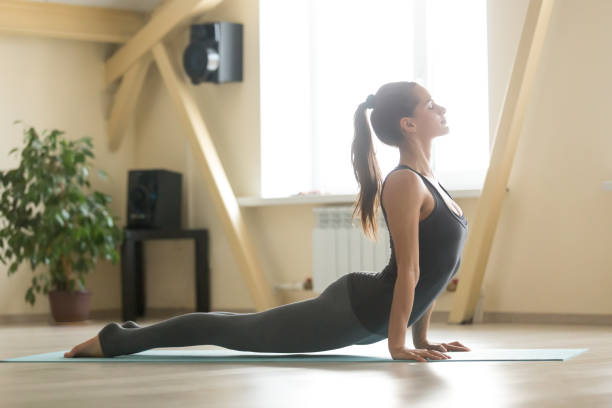 Young attractive woman standing in Urdhva mukha shvanasana pose, Young happy smiling attractive woman practicing yoga, doing Urdhva mukha shvanasana exercise, upward facing dog pose, working out, wearing grey sportswear, indoor full length, home or sport club upward facing dog position stock pictures, royalty-free photos & images