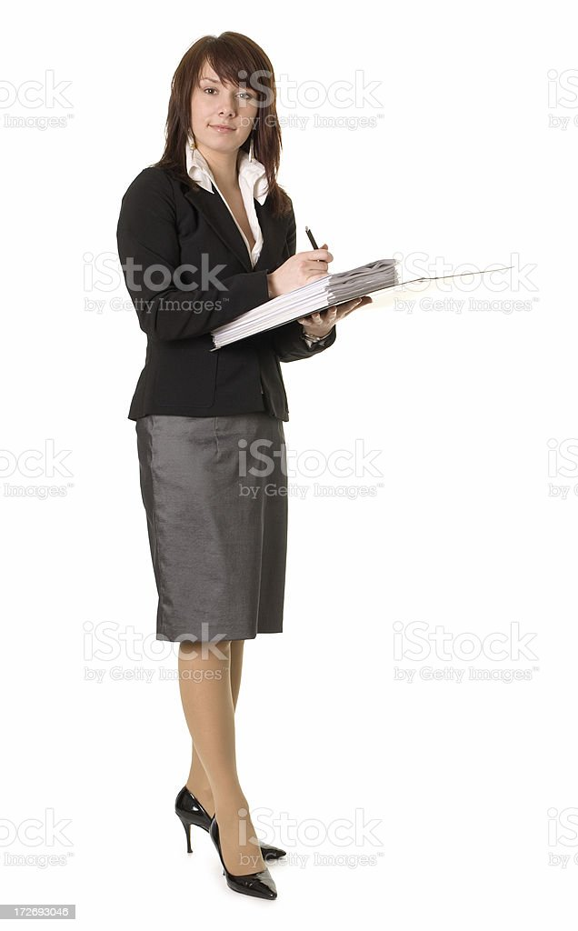 young attractive woman with ring binder royalty-free stock photo