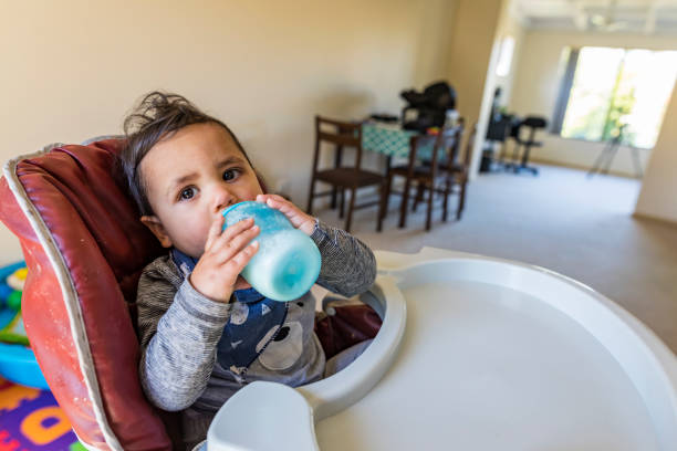 Young Australian Aboriginal Child Drinking stock photo