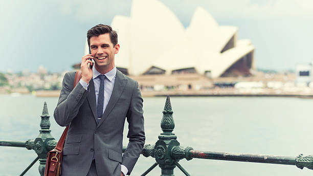 Young Australian entrepreneur on the phone stock photo
