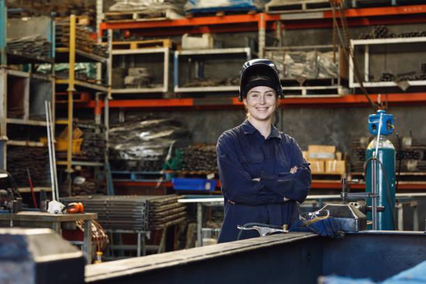 Young Australian Female Trainee Welder stock photo
