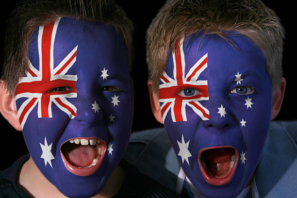 Young Australian Rugby Fans stock photo