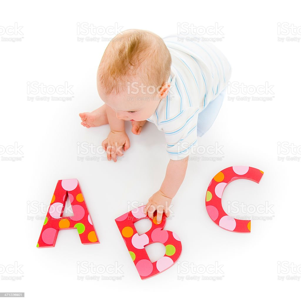 A young baby learning his A B C's stock photo