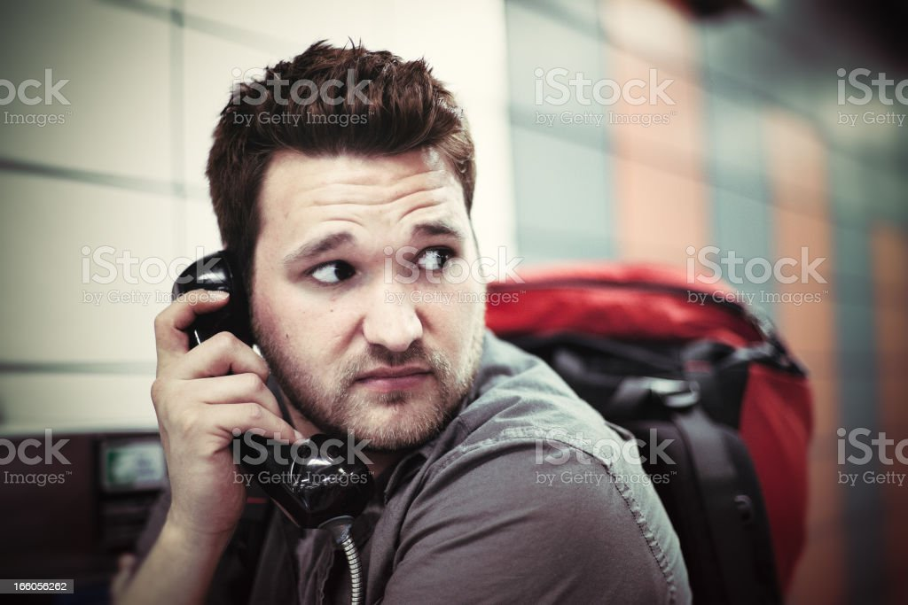 Young Backpacker In Trouble royalty-free stock photo