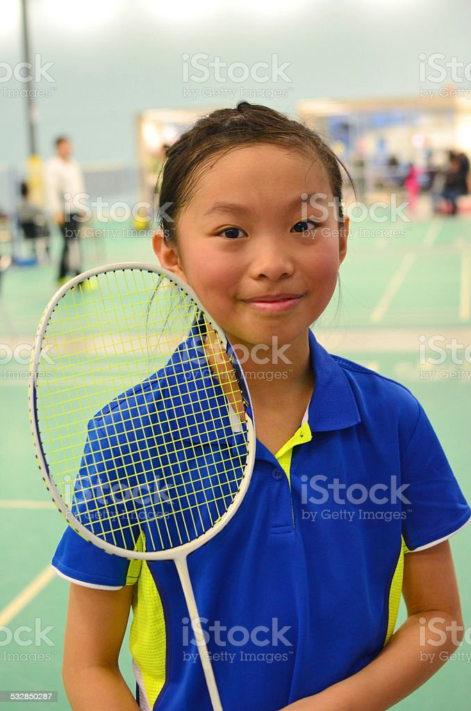 Young badminton player stock photo
