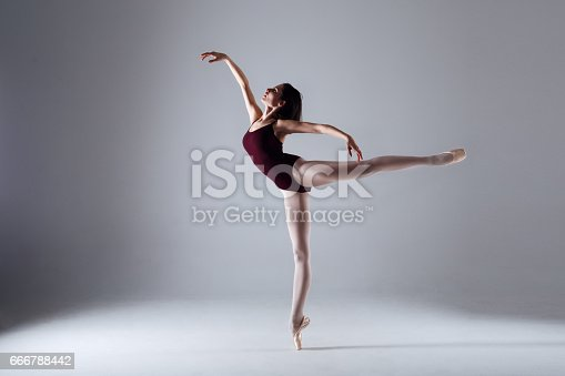 666789174 istock photo Young ballerina in a black dancing suit is posing on a grey background in the photostudio 666788442