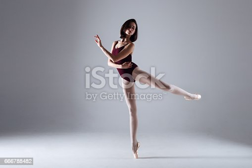 666789174 istock photo Young ballerina in a black dancing suit is posing on a grey background in the photostudio 666788482