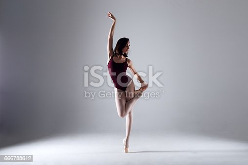 666789174 istock photo Young ballerina in a black dancing suit is posing on a grey background in the photostudio 666788612