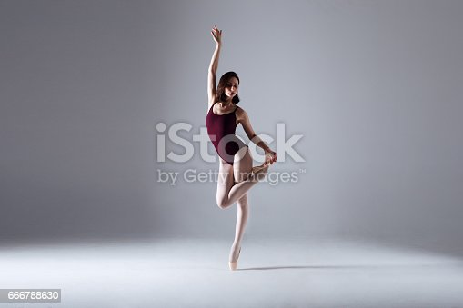 istock Young ballerina in a black dancing suit is posing on a grey background in the photostudio 666788630
