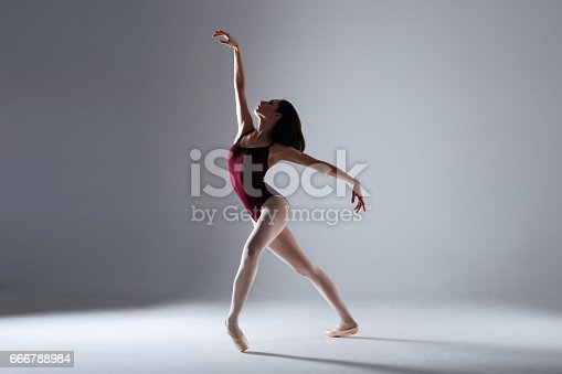 666789174 istock photo Young ballerina in a black dancing suit is posing on a grey background in the photostudio 666788984