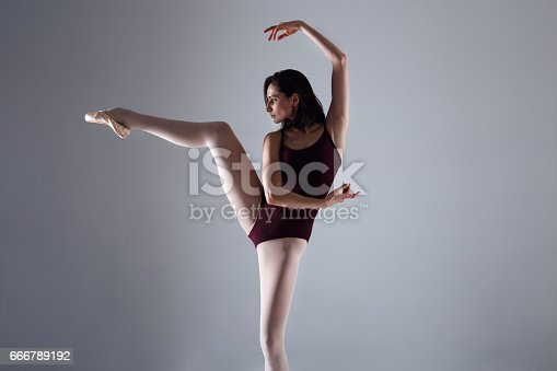 istock Young ballerina in a black dancing suit is posing on a grey background in the photostudio 666789192